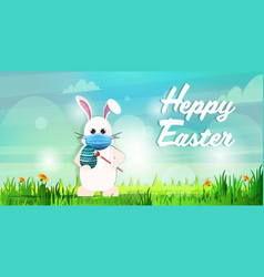 Rabbit in mask drawing on egg happy easter bunny vector