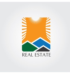 Real estate icon with sun vector