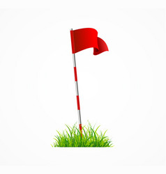 realistic 3d detailed golf red flag vector image
