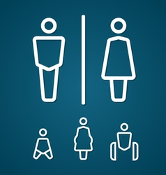Restroom male female pregnant cripple and baby vector image