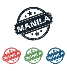 Round Manila city stamp set vector
