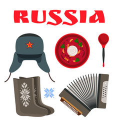 Russia poster with items set vector