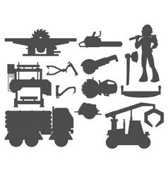 sawmill woodcutter character logging silhouette vector image