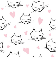 seamless pattern with cat heads vector image