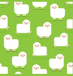 Seamless pattern with lambs white fluffy sheep vector