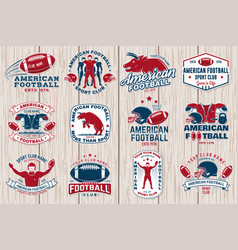 Set american football or rugby club sticker vector