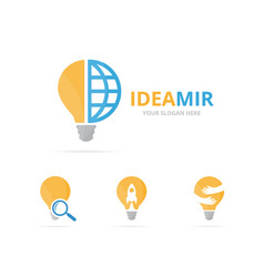 Set of lamp logo combination lightbulb and world vector