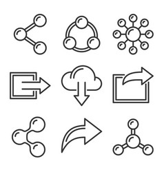 share icons set on white background line style vector image