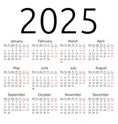 Simple calendar 2025 monday vector