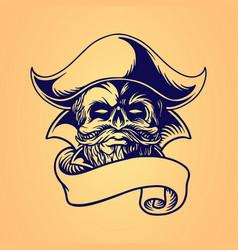 skull pirate hand drawing ribbon vector image