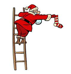 sock gift santa claus character vector image
