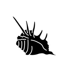 Spiked seashell black glyph icon vector