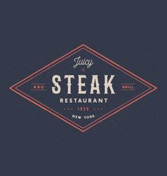 steak logo meat label logo with text steak vector image