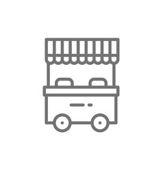 Street market food stall line icon vector