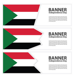 Sudan flag banners collection independence day vector