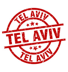 Tel aviv red round grunge stamp vector