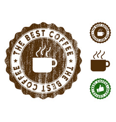 The best coffee stamp seal with grunge surface vector