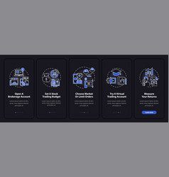Trade plan onboarding mobile app page screen vector