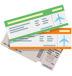 Travel plane and train ticket icon isolated vector