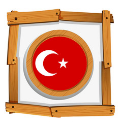 Turkey flag on round badge vector