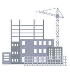Unfinished construction site industrial crane vector