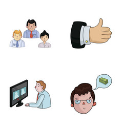 Videoconference business thoughts a badge of vector