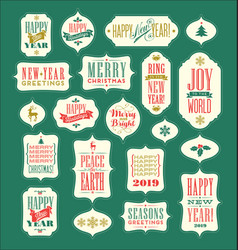 Vintage holiday labels and gift tags vector