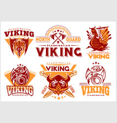 Vintage viking emblems set with scandinavian vector