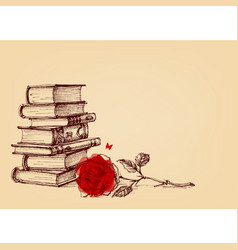 Vintage wallpaper stack of books and a red rose vector