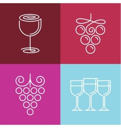Wine line icons and logos vector