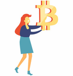 woman holding bitcoin sign in hands isolated vector image