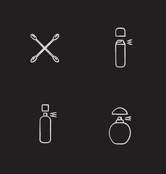 Womens hygienic products chalk icons set vector
