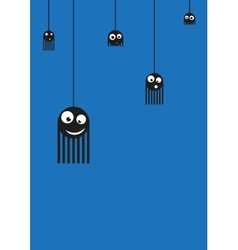 Cute monsters spiders on web vector image vector image