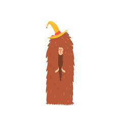 freak man character in funny hairy brown costume vector image