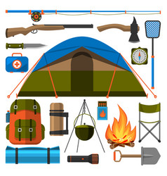 Summer outdoor travel camping icons tourism hiking vector