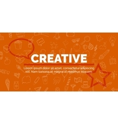 banner of text on orange background with different vector image vector image