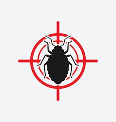 bug icon red target vector image vector image