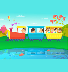 kids driving a train in fairytale world vector image vector image