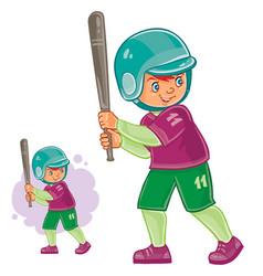 little child playing baseball vector image