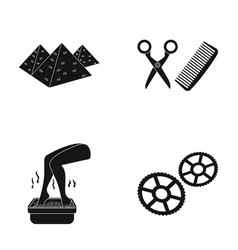 Pyramids tools for a hairstyle and other web icon vector