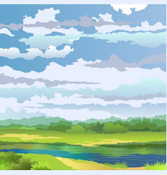 summer landscape with river vector image