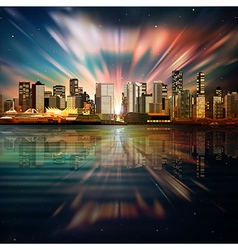 abstract sea sunset dark background with panorama vector image vector image