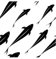 Background pattern of black fish silhouettes in vector