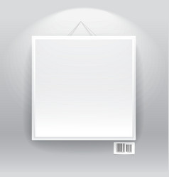 Blank frame on the wall with barcode sign vector image