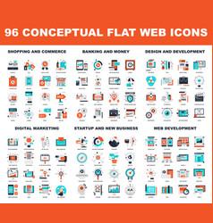 conceptual flat web icons vector image