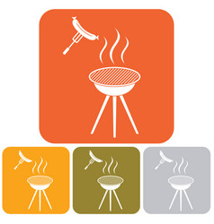 barbecue sausage icon vector image vector image
