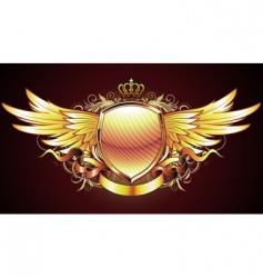 heraldic golden shield vector image vector image