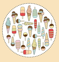 ice cream in circle vector image vector image