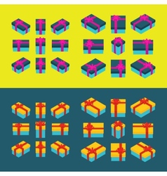 Isometric colored gift boxes vector image