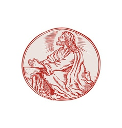 Jesus Christ Agony in the Garden Etching vector image vector image